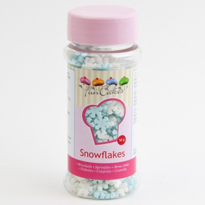Flocons de neige en sucre bleus et blancs