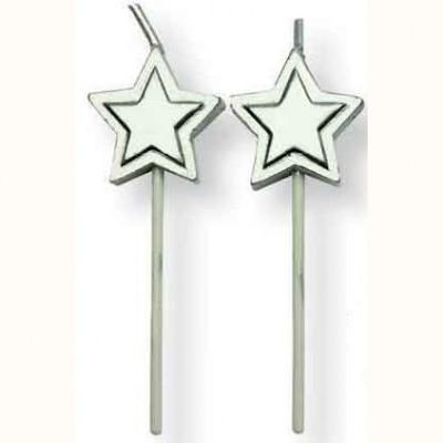 Bougies étoiles argent x8