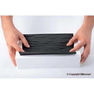 Moule à bûche en silicone avec tapis relief tressé silikomart