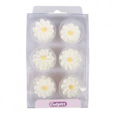 Marguerites blanches en sucre x12