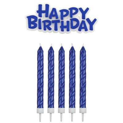 Bougies bleues happy Birthday x16