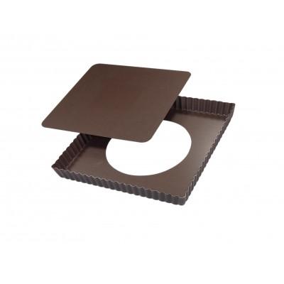 Moule à tarte carré fond amovible anti-adhérent 23cm
