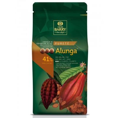Alunga 41% Q-fermentation Chocolat de couverture lait en pistoles 1kg cacao barry