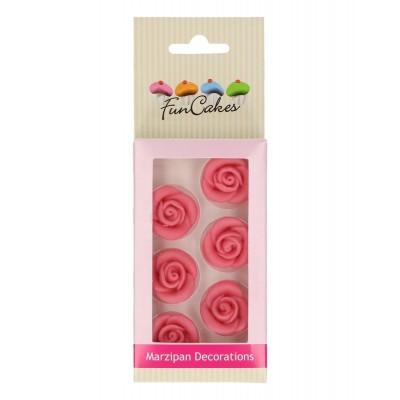 Roses roses en pâte d'amande x6