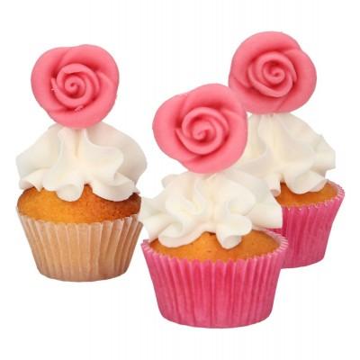Roses roses en pâte d'amande x12 funcakes