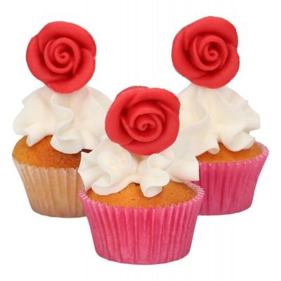 Roses rouges en pâte d'amande x6 funcakes