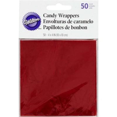 Papillottes rouges pour bonbons x50