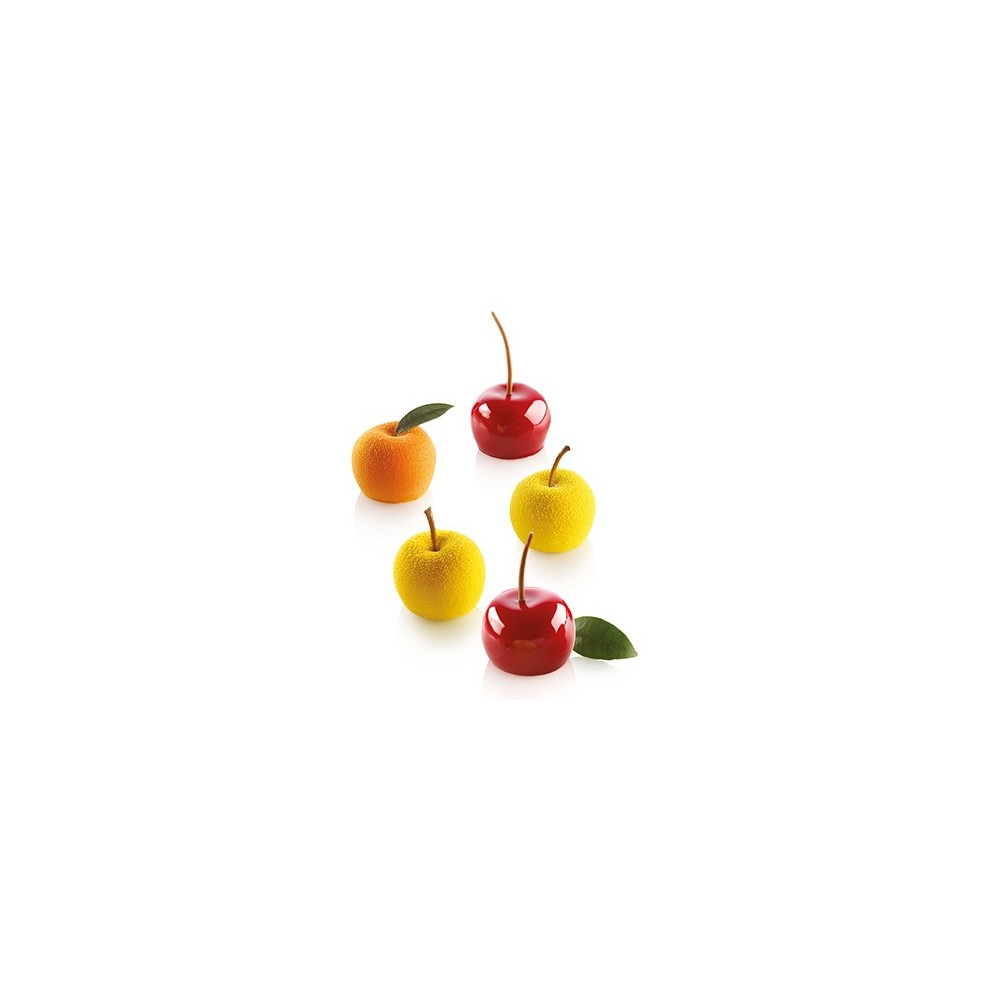 Moule en silicone mini pomme, pêche ou cerise silikomart professional