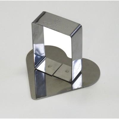 Poussoir coeur en inox 6,3x5,7cm