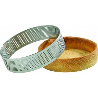 Cercle à tarte perforé en inox Ø9cm H2cm