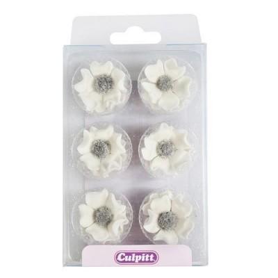 Anémones blanches en sucre x12 culpitt