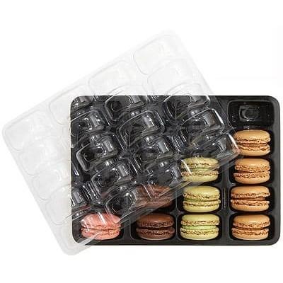 Calage noir pour 20 macarons + couvercle transparent