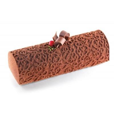 Moule à bûche en silicone avec tapis relief arabesque silikomart