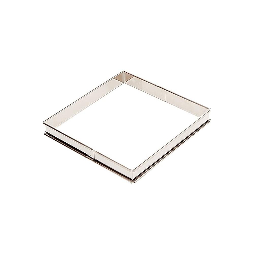 Flan à tarte carré inox bords roulés 20cm H2cm gobel