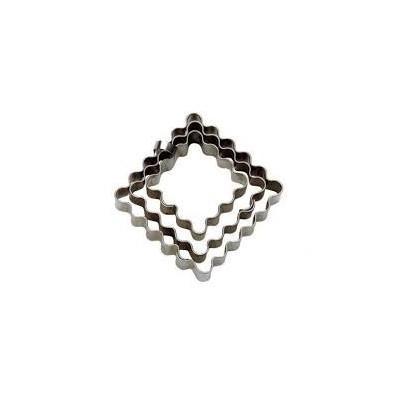 Set Emporte-pièce carré cannelé x3