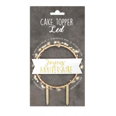 Cake Topper LED Joyeux anniversaire