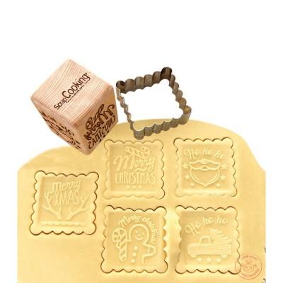 Tampon en bois pour biscuit Noël + découpoir
