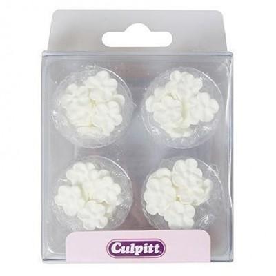 48 Mini fleurs blanches en sucre