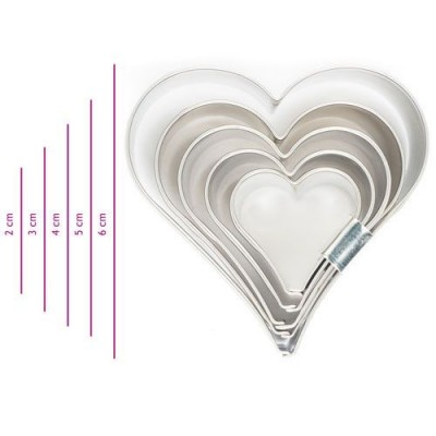 Lot de 5 Emporte-pièce coeur en inox