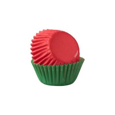 Mini caissettes rouges et vertes /100 wilton