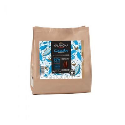 Caraïbe 66% - Chocolat de couverture noir en fèves 1kg VALRHONA