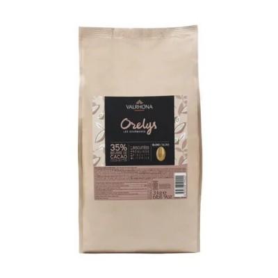 Chocolat de couverture blond Orelys 35% de cacao en fèves 500g VALRHONA