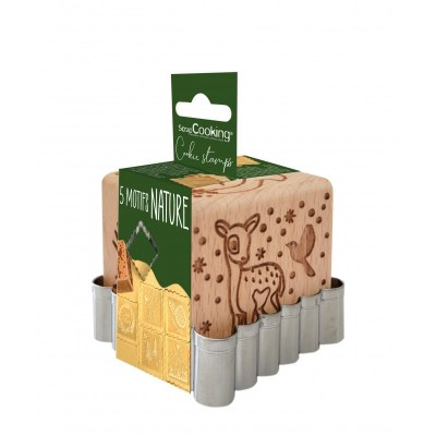 Tampon en bois pour biscuit Forêt enchantée + découpoir