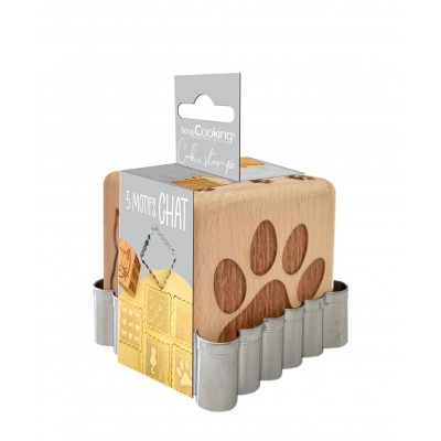 Tampon en bois pour biscuit chat + découpoir