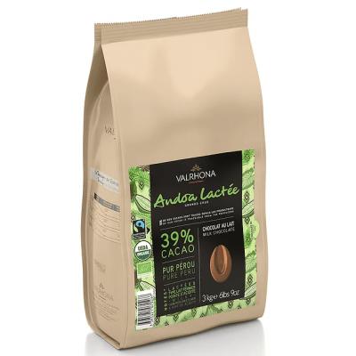 Andoa Lactée 39% BIO chocolat de couverture au lait en fèves 3kg VALRHONA